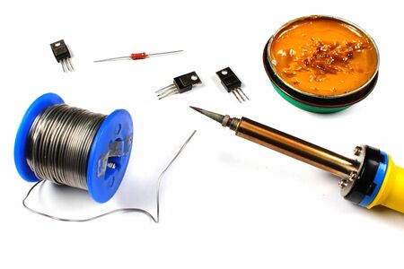 Soldering iron with solder wire and flux Standard-Bild