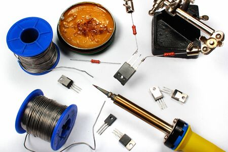 Soldering iron with solder wire and flux Banco de Imagens - 132226712