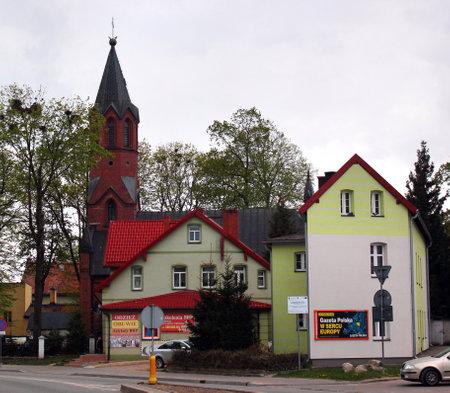 Goldap, Poland - May 4, 2019: St. Leo and St. Boniface Church in Goldap town, Warmian-Masurian Voivodeship, Poland.