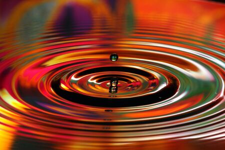 Abstract background of two water drops and colorful ripples on water surface