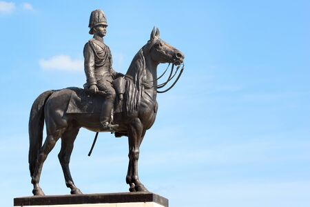 Equestrian statue of King Chulalongkorn Rama V at the center of the Royal Plaza in Bangkok, capital of Thailand