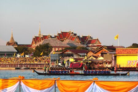 Bangkok, Thailand - December 12, 2019: The Royal Barge Procession on Chao Phraya River, the final event of the Coronation of King Rama X.