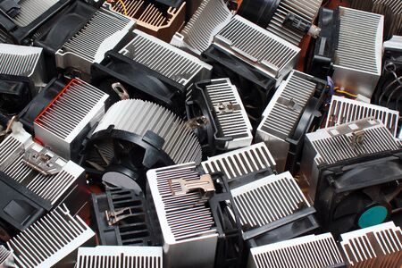 Many aluminum CPU heat sinks
