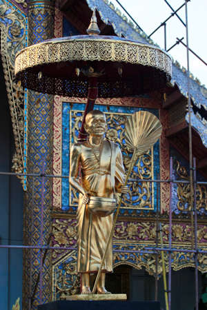 Chiang Mai, Thailand - December 3, 2019: Statue at the Wat Phra Singh, a famous Buddhist temple in the old city center of Chiang Mai.