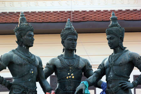 Chiang Mai, Thailand - December 3, 2019: Famous Three Kings Monument, sculpture of Kings Mengrai, Ramkamhaeng and Ngam Muang, purported founding fathers of Chiang Mai.