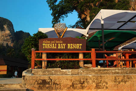 Tonsai, Thailand - December 6, 2019: TonSai Bay Resort at Ton Sai Beach, a scenic and tranquil beach surrounded by trees and dramatic cliffs popular for rock climbing.