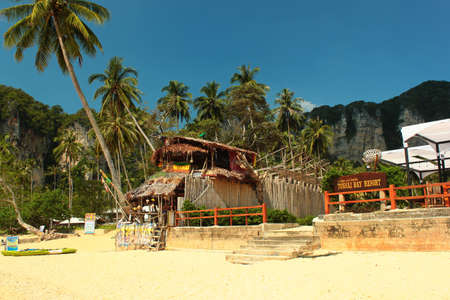 Tonsai, Thailand - December 6, 2019: Ton Sai Beach, a scenic and tranquil beach surrounded by trees and dramatic cliffs popular for rock climbing.