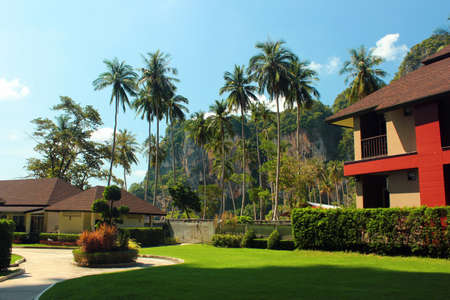 Tonsai, Thailand - December 8, 2019: TonSai Bay Resort at Ton Sai Beach, a scenic and tranquil beach surrounded by trees and dramatic cliffs in Krabi province.