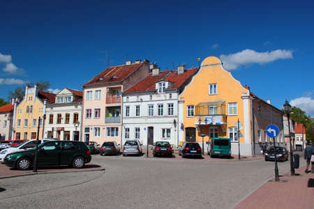 Gorowo Ilaweckie, Poland - May 7, 2019: Townscape of Gorowo Ilaweckie, a small town in northern Poland, located in the Bartoszyce County, Warmian-Masurian Voivodeship. Publikacyjne