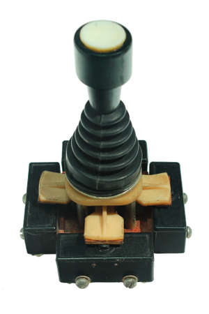 Old joystick made of four push buttons and a handle, isolated against white background Stockfoto