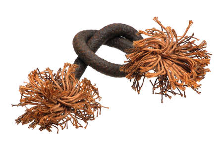 Old rope with frayed ends, isolated against white background1