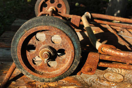 Old rusty wheel of shopping stroller