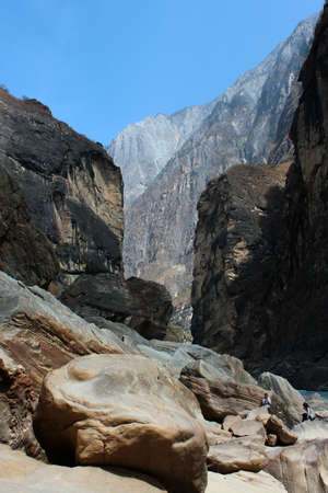 Central part of one of the deepest ravines of the world, Tiger Leaping Gorge in Yunnan, Southern China
