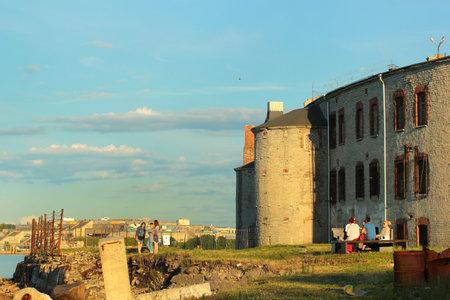 Tallinn, Estonia - July 8, 2017: View of old Patarei prison, now a museum, originally built for defense purposes as coastal battery at the coast of Tallinn, Estonia.