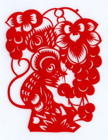 Chinese paper cutting Zodiac mice steal grapes photo