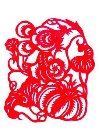Chinese paper cutting zodiac rat stealing pumpkins photo