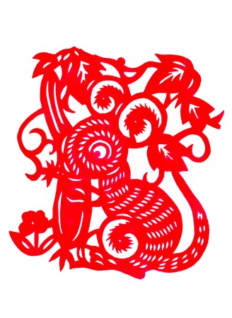 Chinese paper cutting Zodiac mice steal loofah photo