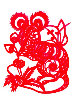 Chinese paper cutting Zodiac Mouse Abstract lotus photo