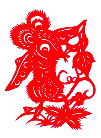Chinese paper cutting Zodiac Mouse picking peas photo