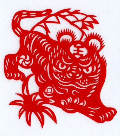 Chinese paper cutting Zodiac Tigers down photo