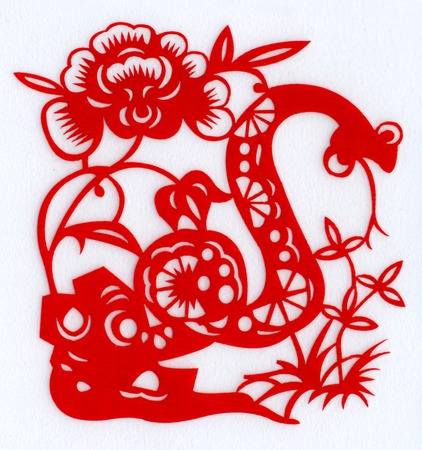 Chinese paper cutting Zodiac spring back to Snake Dance photo