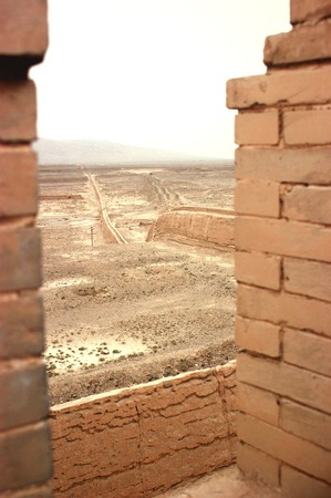 west end: Jiayuguan, west end of Great Wall, Gansu of China  Stock Photo