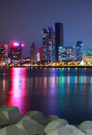 seaports: night view in Qingdao of China,Vertical version Stock Photo