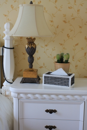 Bedside table in the bedroom photo