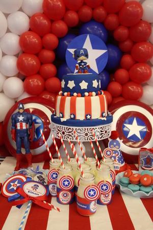 Cake cartoon dessert table American captain cake Editorial