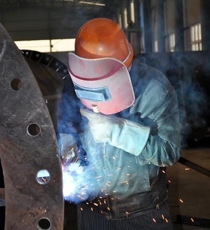 fabricator: Welding polished Stock Photo