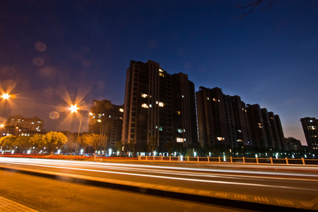 city road: Night city road map Stock Photo
