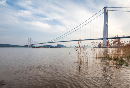 yangtze: Jiangyin Yangtze River Bridge scenery Stock Photo