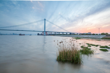 yangtze: Jiangyin Yangtze River Bridge scenery Editorial