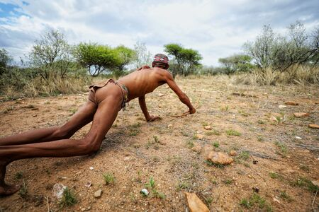 Bushman hunting, adventure in Africa Stock Photo