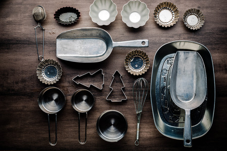 Flatlay of baking tools on a table