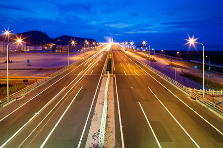 serbia landscape: Highway at night in long exposure Stock Photo
