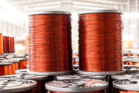 copper cables in factory photo