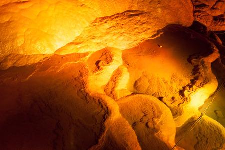 subterranean: Stalactites and stalagmites in cave