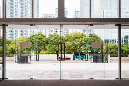 glass doors in an office Stock Photo