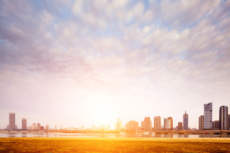city in sunset 免版税图像