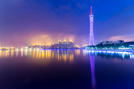 GUANGHZOU-APRIL 15:The Guangzhou Tower (600 m) is lit up on April. 15, 2012 in Guangzhou, China. It is a TV tower, China's first tower. located at new city axis intersection in Guangzhou.