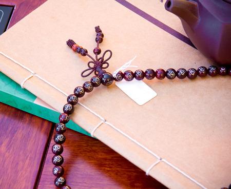 Hindu and buddhist prayer beads photo