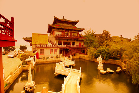 YuYuan garden,Shanghai. traditional, ancient Chinese architecture, made of wood.