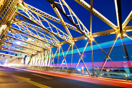 bridge footing: Evening Bridge in Shanghai, China Stock Photo