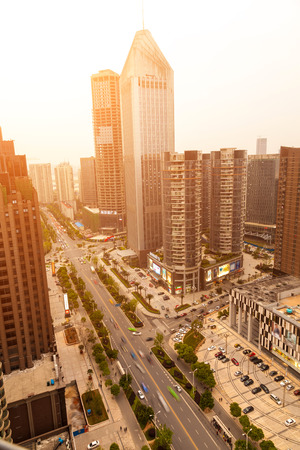 bustling: Overhead over the city, the bustling streets Stock Photo