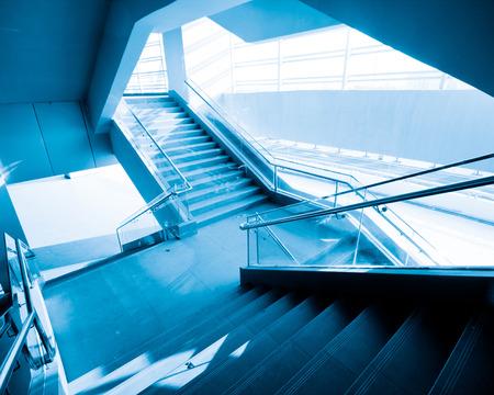 Local interior staircase, blue hue photo