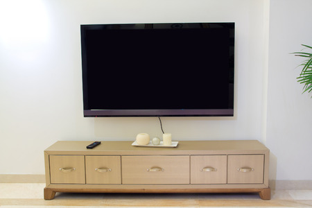 tv and living room tv cabinet Stock Photo
