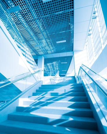 escalate: Local interior staircase, blue hue