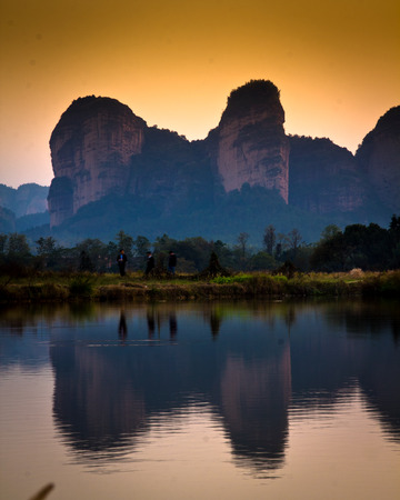 landform: Lake and mountains, China landform. Stock Photo