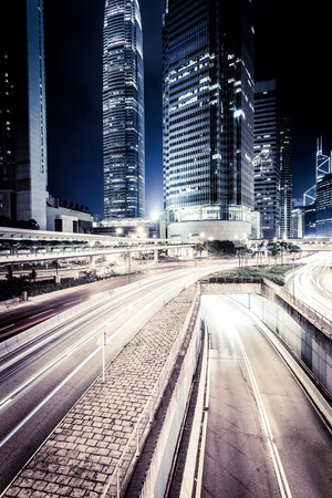 buildings city: Hong Kong at night Stock Photo